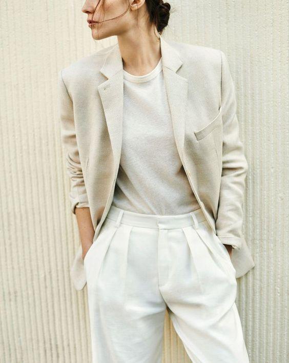 Minimal Scandinavian style fashion all in white.