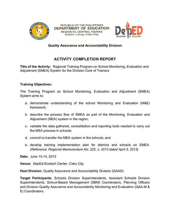 School Monitoring, Evaluation and Adjustment- Activity Completion - sample evaluation report