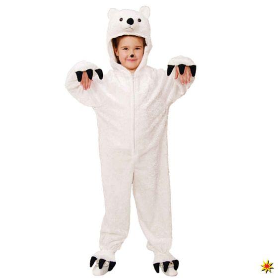 Eisbär Kostüm für Kinder Gr. 104 Overall weiß