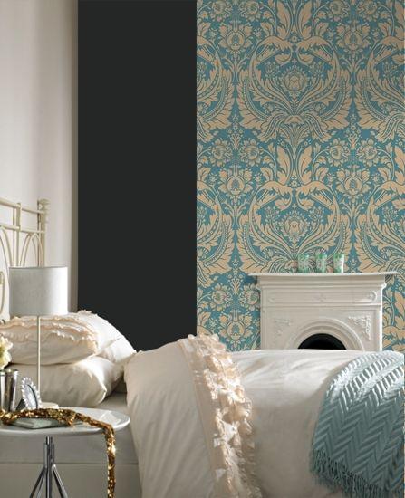 Bedroom Ideas Damask 50-028 graham brown desire blue damask wallpaper | graham brown