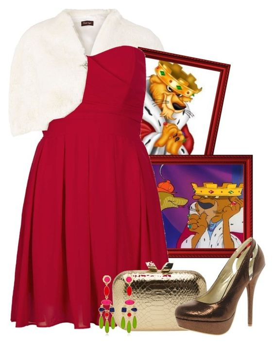 """Prince John"" by flavoka-tigre ❤ liked on Polyvore featuring Phase Eight, Disney, TFNC, KOTUR, Sugarfree Shoes, Isharya, women's clothing, women, female and woman"