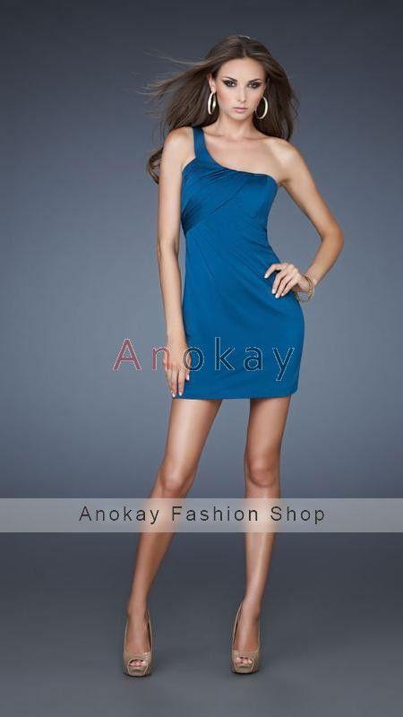 Fashion Eine Schulter Column Chiffon Mini Partykleider PLF1305618