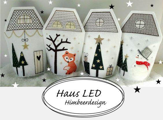 Stickmuster - Haus SET Stickdatei LED 10x10 und 13x18 - ein Designerstück von himbeerdesign bei DaWanda