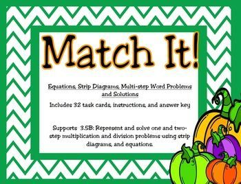 This set of 32 task cards supports new Texas Math TEKS 3.5B: Representing one and two-step problems involving multiplication and division using strip diagrams and equations.  Students can use these task cards to match up word problems, strip diagrams, equation, and solutions.