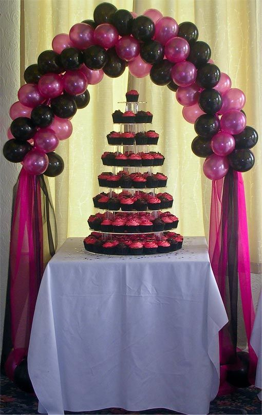 Cake Table Decorations With Balloons : Cake table backdrop, Bags and Streamers on Pinterest
