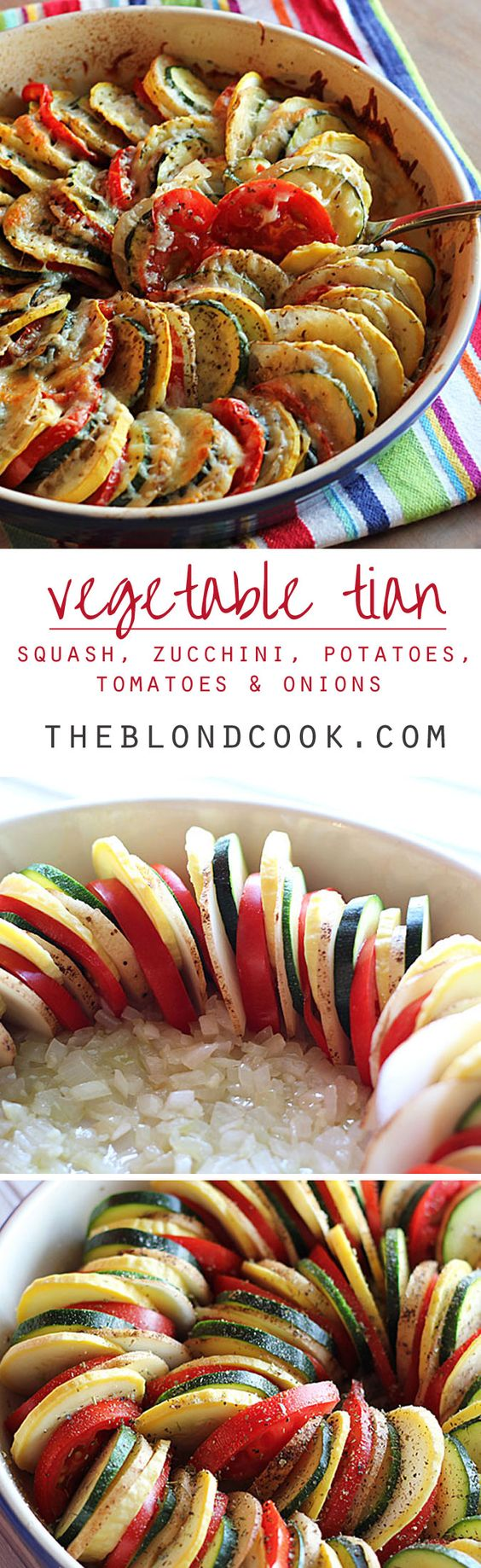 Vegetable Tian ~ Thinly sliced squash, zucchini, potatoes and tomatoes on a bed of onions with seasonings and cheese... a beautiful and delicious side dish!