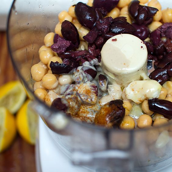 Kalamata Olive Hummus - Throw it all in a food processor or blender. That's about it. lol