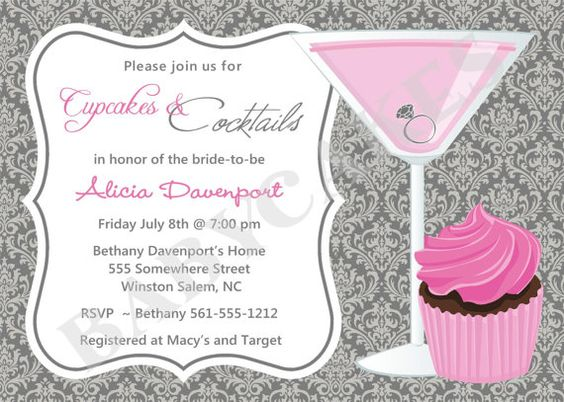 Cupcakes and cocktails invite