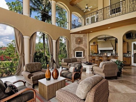 Outdoor Living Room Summer Kitchen Fireplace Naples Florida Outdoor Living Spaces