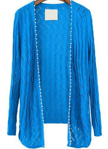 Blue Long Sleeve Hollow Knit Cardigan 19.67