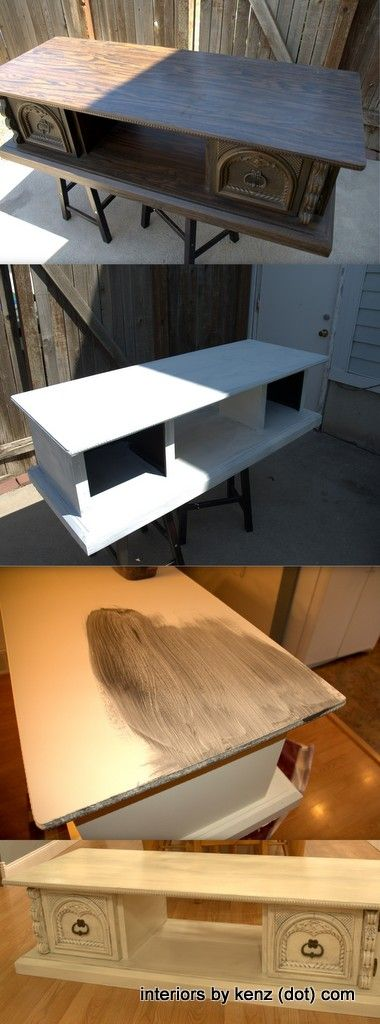 DI TV Stand Transformation.  No sanding... finished with glazing.