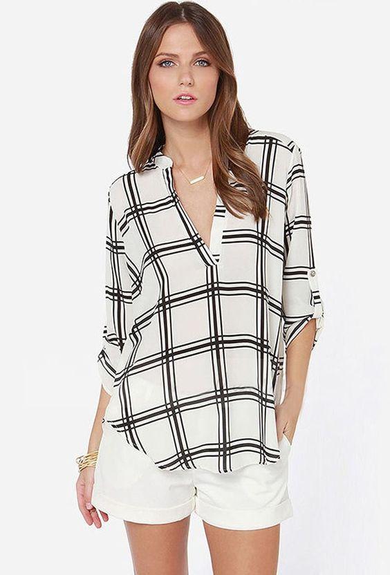 Stylish Women Long Sleeve Casual Loose-fitting Chiffon Shirt Tops Blouse