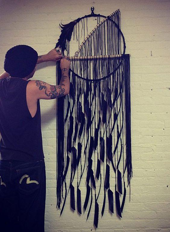 New York design duo Electriclove create beautiful dream catchers and jewellery handmade with leather, branch, feathers and Quartz Crystal. via Design Pilgrim http://designpilgrim.com.au/portfolios/electriclove-2