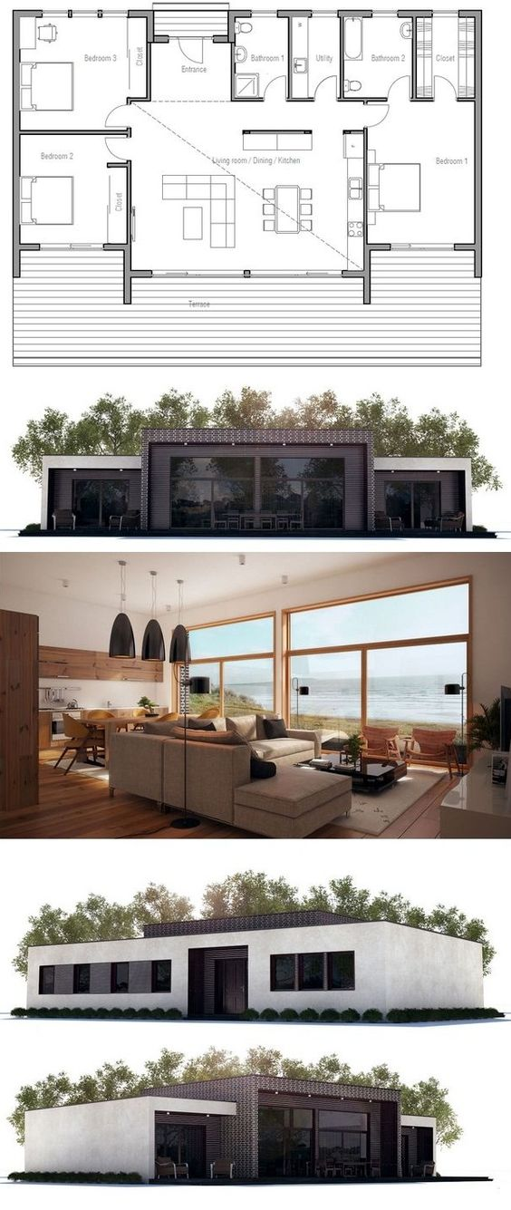 Contemporary home plan open planning high ceiling in the living area three bedrooms floor - House plans high ceilings ...