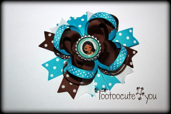 Pocahontas Inspired 5 Inch Stacked Boutique Bow by tootoocute4you