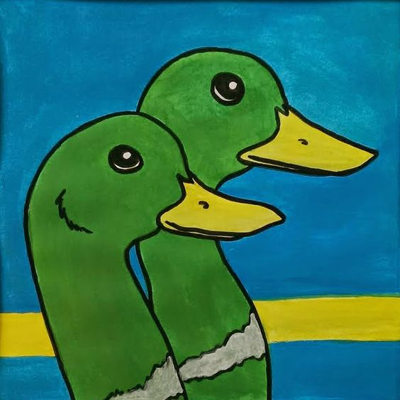 Mallard Ducks - Color Throwdown Challenge CTD307 - Acrylic Painting Portrait of Two Ducks in Green, Blue and Yellow | Sixth Floor Studio: Acrylic Painting and Mixed Media Art by Renee Dillon