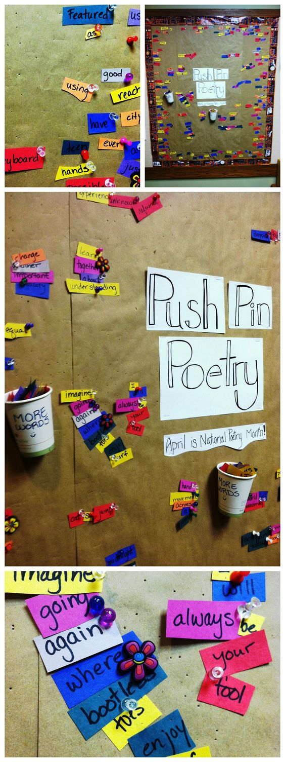 National Poetry Month idea?  Have a container full of words (nouns, verbs, adjectives, etc.) and also residents to mix and match them.  They could be hung by pins or Velcro.  Perhaps once a week residents could vote for their favorite poem?