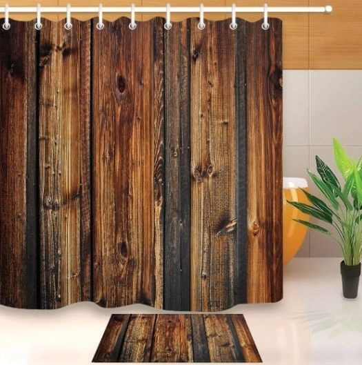Brown Wood Look Shower Curtain Cabin Decor Ideas Shower Curtain