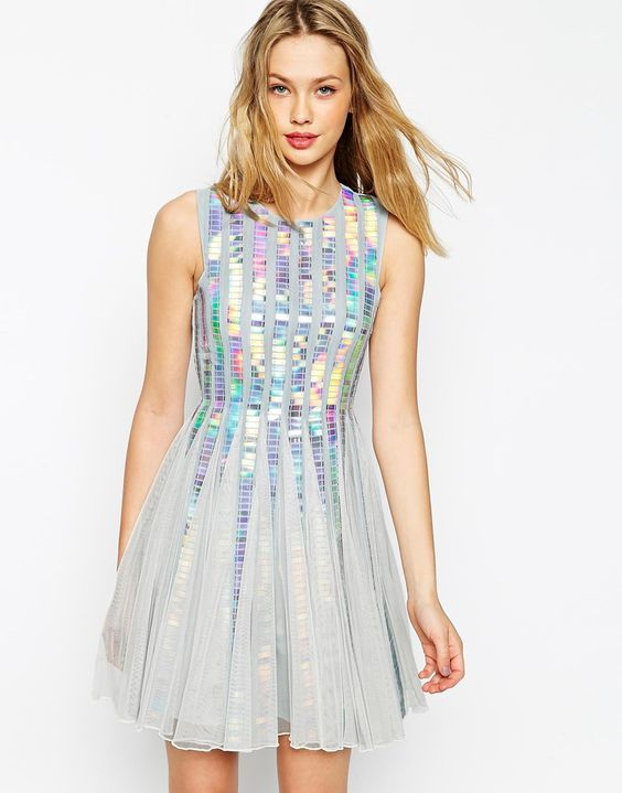 image 1 of asos holographic sequin strip dress  my