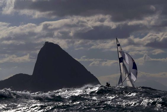 Sailing away Paul Snow-Hansen and Daniel Willcox of New Zealand compete in the Sailing Preliminary Men's Two Person Dinghy 470 Race 3/4 at Marina de Gloria in Rio de Janeiro on Aug. 11.