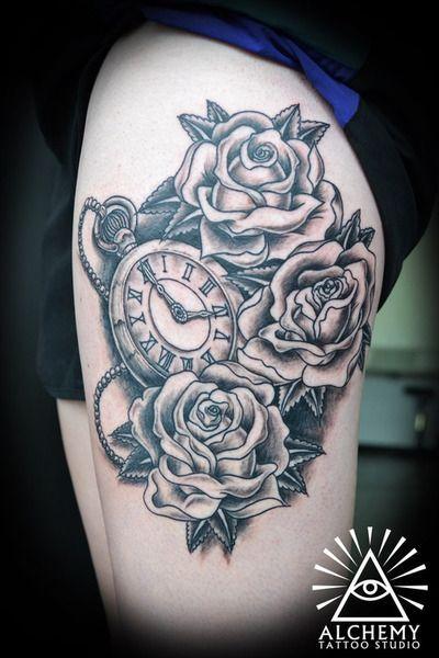 tattoo, clock, and rose εικόνα