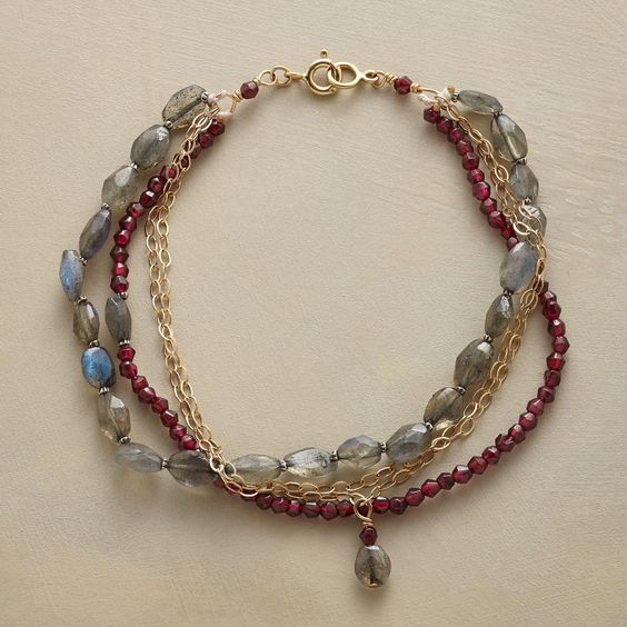 """TALIA BRACELET--Dainty 14kt gold filled links intermingle with one strand of garnets, another of labradorites and silver plated beads. Spring ring clasp. Sundance exclusive handmade in USA. Approx. 7-1/2""""L."""