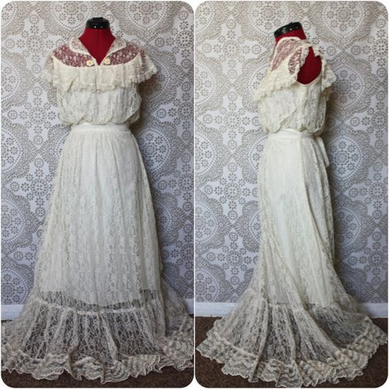 Vintage 1970's Gunne Sax Boho Edwardian Style Floor Length Dress Medium  by pursuingandie