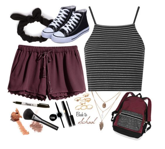 """""""Back to School"""" by zetterbug ❤ liked on Polyvore featuring Topshop, NLY Accessories, H&M, Mudd, NARS Cosmetics, Maybelline and Gucci"""