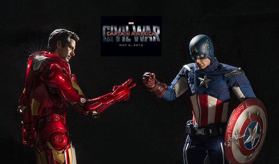 Iron Man and Captain America playing rock-paper-scissors