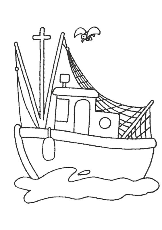 coloriage d un petit bateau de p che coloriages de bateaux pinterest. Black Bedroom Furniture Sets. Home Design Ideas