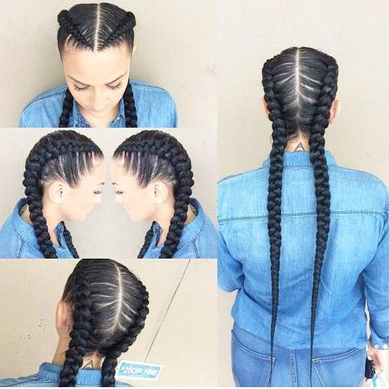 Useful 19 Two French Braids Black Hairstyles New Natural Hairstyles Blackhairstyles In 2020 Hair Styles Long Hair Styles Natural Hair Styles