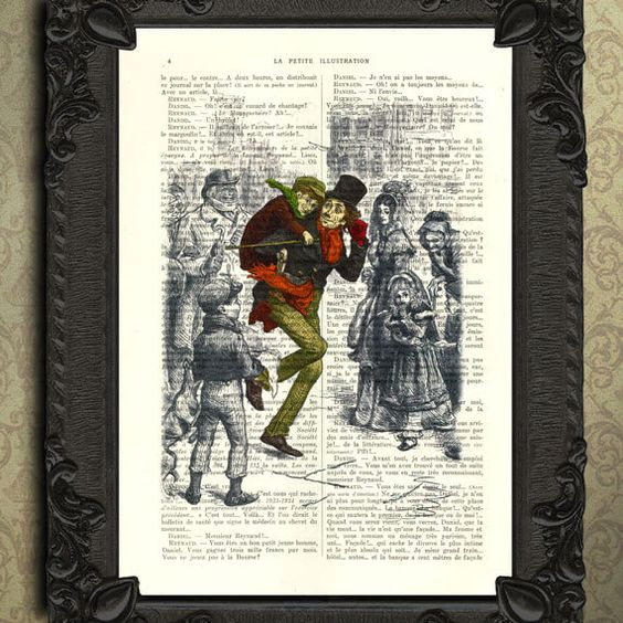 A Christmas Carol Print Tiny Tim Color Illustration