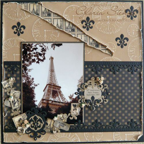 Paris Tour Eiffel Graphic 45 Curtain Call layout Gloria Stengel