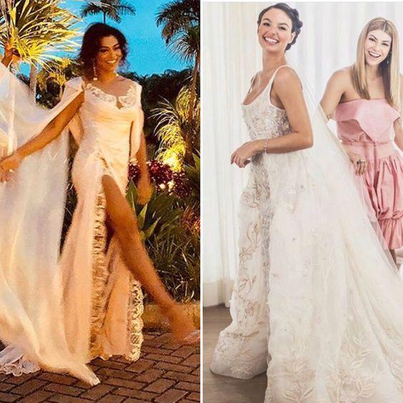 O polêmico vestido de Juliana Paes para o casamento de Isis Valverde