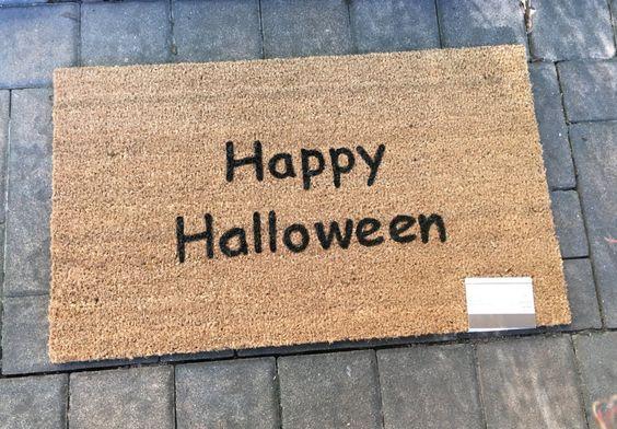 Custom Door Mat, Halloween Door Mat, Happy Halloween Door Mat, Hand Painted Door…