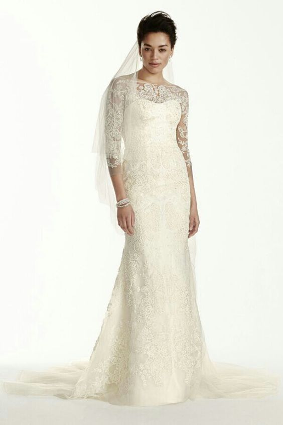 BEAUTIFUL Beaded Lace Column/Sheath Wedding Gown With 3/4 Length Illusion Lace Sleeves & Bateau Neckline, Chapel Length Tulle Train; Oleg Cassini Collection Fall 2015 for David's Bridal****