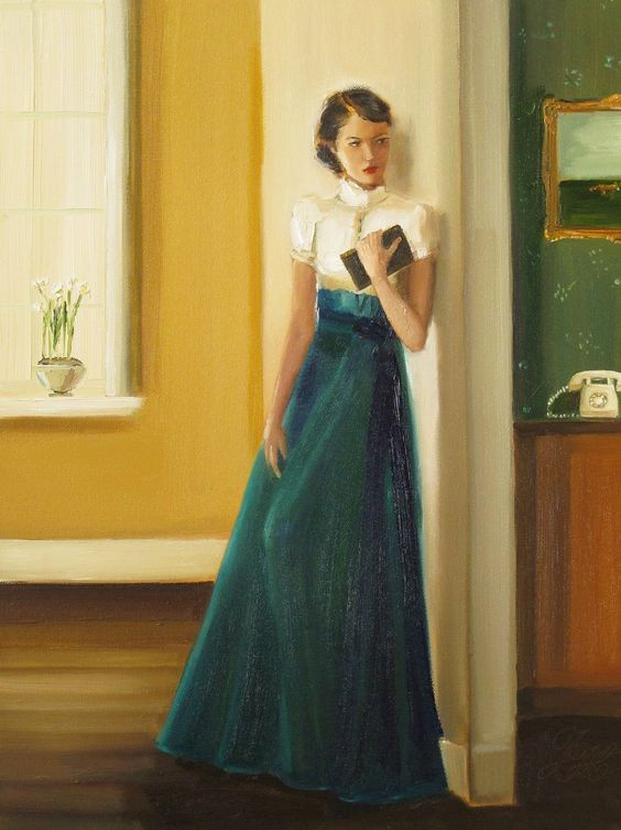 """Catherine Listens To The Ominous Ring. Janet Hill. Oil on canvas.  Hill's work is both elegant, yet whimsical, often with an underlying narrative that instantly captures the imagination.  """"There's nothing quite like the ring of a rotary phone to send chills up my spine. I attribute it to a lot of older horror and suspense films."""" — Janet Hill"""