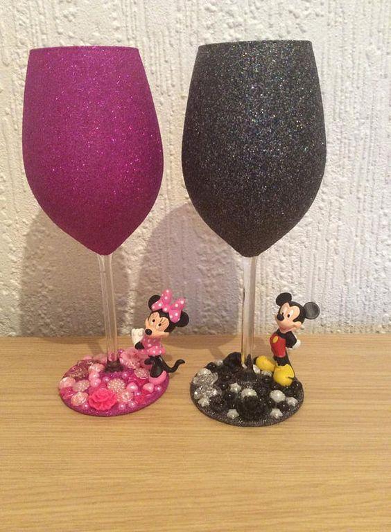 Minnie/Mickey Large glitter wine glass by TashasGlitter on Etsy