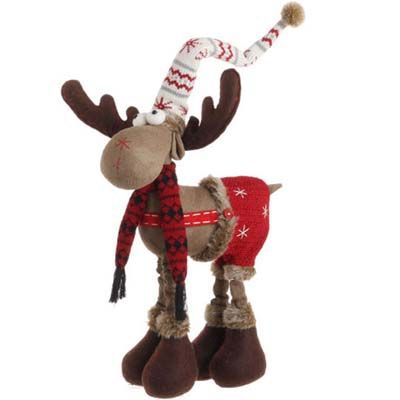raz whimsical moose on all fours browngrayred made of polyester measures measures to top of stocking hat not intended for children decoration only