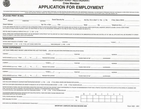 printable employee applications
