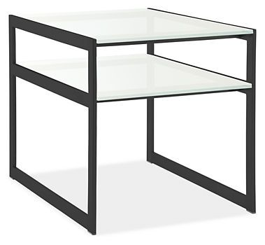 Room and Board   Voss 21x30 22h Two-Tier End Table  Top:White glass  Stocked Item  $769.00