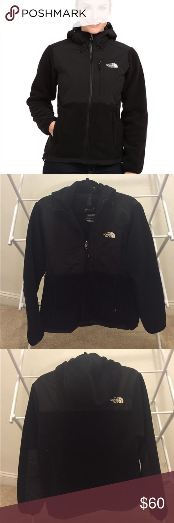North Face Denali Jacket with Hood This fleece Denali jacket from North Face is very warm and has an attached hood. Works well alone or layered under another jacket. It is in good used condition - I purchased it but only wore it for a season. Please let me know if you have any questions! North Face Jackets & Coats