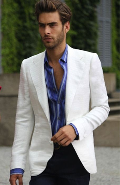 men's white blazer - Kody, open blazer showing chest --- needs ...