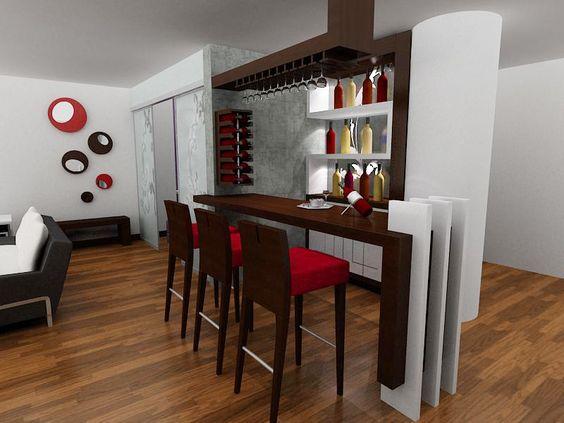 Bar a dise o cava empotrada en la pares copero en l for Muebles barras de bar para casa