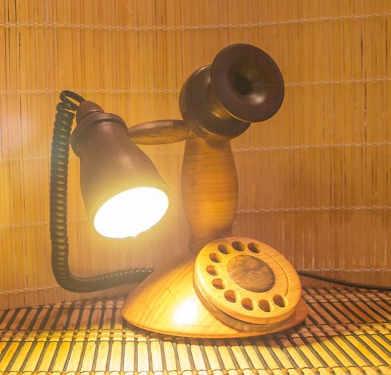 Retro telephone lamp Wood and light sculpture by woodrays on Etsy