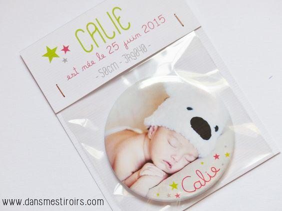 Magnets PHOTO - Faire-parts naissance originaux faits par www.dansmestiroirs.com:
