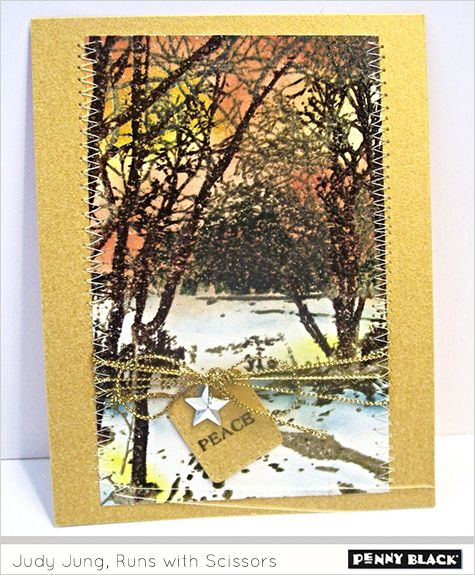 Penny Black wintry trail stamp & multi layered color stamping using the MISTI