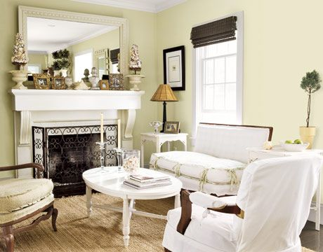 white and cream living room with slipcovered furniture