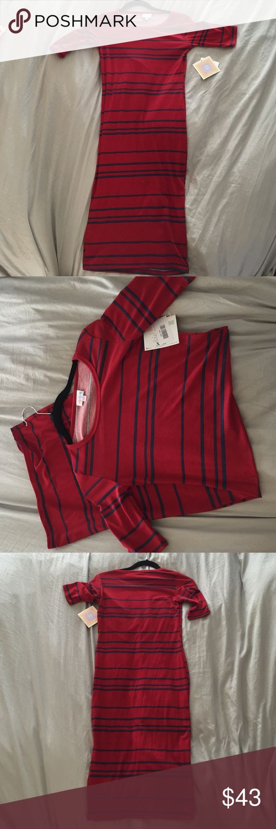 Lularoe red and blue striped dress New with tags Julia style dress in xxs. Last picture is what it looks like on a mannequin when I purchased it. LuLaRoe Dresses