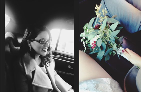 Layla & Josh's NYC New Year's Eve elopement - winter bridal bouquet & cab ride bride